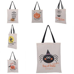Wholesale halloween canvas bags resale online - Halloween Tote Bags Handle Pumpkin Shopping Bags Festival Gifts Bag Halloween Canvas Bag Styles T1I2295