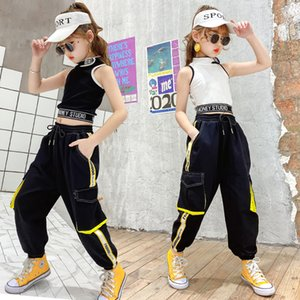 Wholesale dance girl vest resale online - Hip Hop Kids Dance Girls Clothes Outfits Vest Tops Pants Cargo Sweatpants Modern Baby Teens Years Girls Streetwear