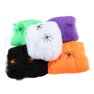 Wholesale decorations housings for sale - Group buy Halloween Spider Web Stretchy Cobweb With Spider For Halloween Party KTV Props Bar Haunted House Party Decoration RRA3426