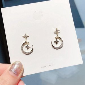 Wholesale dangler earrings for sale - Group buy High end Twinkle Moon Dangle Drop Earrings for Women Gold Color Micro Paved Cubic Zircon Dangler