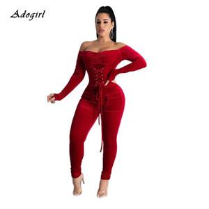 Elegant Off Shoulder Velvet Jumpsuit Women Long Sleeve Lace Up Gromment Bodycon Jumpsuit Sexy Bandage Club Outfit Romper 2XL T200808