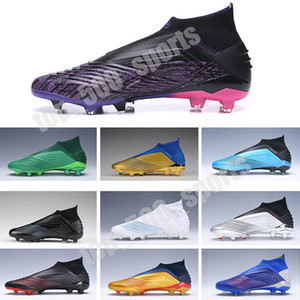 Wholesale high top soccer cleats resale online - Laceless Predator Children Soccer Cleats FG Paul Pogba Season FG boots Kids Youth Junior Football Boots High tops black Purple Pink
