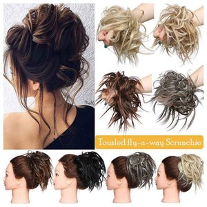 Wholesale rubber bands resale online - Synthetic Hair Ring Blonde Wrap For Hair Extension Donut Curly Wig pieces Wrap Rubber Band Tail Ponytail Accessory