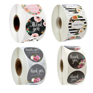 500PCS Roll Floral Thank You Label Stickers 1.5 Inch Handmade Envelope Seals Round Adhesive Festive Decoration For Holiday Presents DHL Free