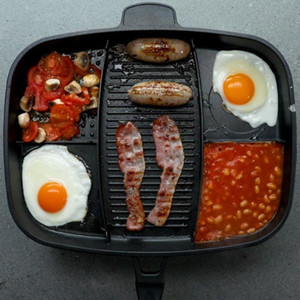 Wholesale grilled pans resale online - 5 In Multi purpose Separation Master Pot Fryer Pan Breakfast Non Stick Grill Fry Oven Meal Skillet Barbecue Plate Roasting Pan
