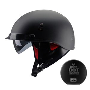 Wholesale built helmets resale online - New Arrival Vintage Motorcycle Helmet Retro Scooter Motorbike Riding Half Helmet With Built in lens Casco Moto