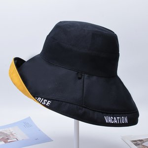 chapéu de algodão grande viseira venda por atacado-Mulheres Verão Sun Hat Ladies Hat Cotton Sólidos Fisherman Bordados Letters Folding Floppy Outdoor Sun Visor aba larga Praia