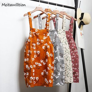 Wholesale overall skirts resale online - 2020 Women Retro Corduroy Skirt Summer Autumn Spring Winter Suspender Overall A Line Skirt Female Floral Jumpsuit Brace Skirts
