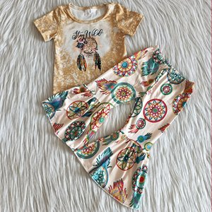 Wholesale cute fall outfit resale online - Hot sale kids clothes toddler girls fall outfits short sleeve bell bottom outfit cute baby girl designer clothes set milk silk boutique