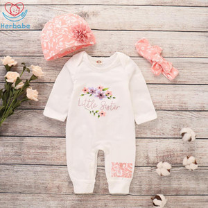 Wholesale baby girl pcs outfits set for sale - Group buy Herbabe Newborn Girl Rompers Long Sleeve Baby Girl Clothes Kids Romper Hat Headwear Sets Infant Baby Outfit Clothing