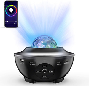 ingrosso controller di giochi-Remote luce del proiettore di notte Ocean Wave Voice Control App Bluetooth Speaker Galaxy Luce colorata stellata Scene for Kids Game Room partito