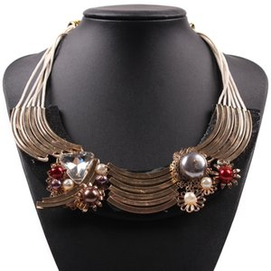 Wholesale gold chain pendant design latest resale online - Pendants Choker Jewelry for Women New Latest Design Black Rope Chain Gold Color Crystal Pearl Bib Necklaces