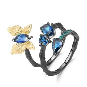 Wholesale rings london resale online - GEM S BALLET Ct Natural London Blue Topaz Ring Sterling Silver Handmade Butterfly Winding Branch Rings for Women Bijoux