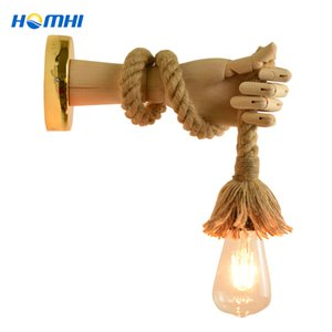 Wholesale retro modern home decor resale online - Arm American style retro lamp bar rope vintage wall industrial lighting home interior modern decor recibidor de entrada