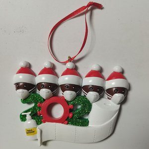 DHL Fast Delivery Christmas Ornaments 2020 Decoration Personalized Family Of 4 Ornament Pandemic with Face Masks Hand Sanitized
