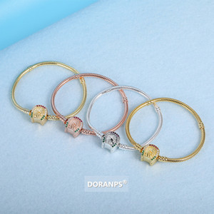 DORANPS WAR HORSE Collections 18K gold bracelet women 925 silver beads for pandora bracelet snake chain braclet jewelry gifts