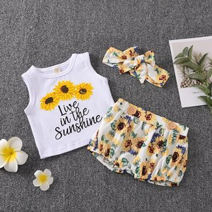 Wholesale live vest resale online - Newborn Baby Girl M Live in the Sunshine Print Vest Short Pant Headband Sunflower Outfits Set
