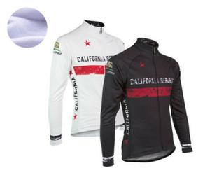 2021 California Republic Flag Winter Thermal Fleece Cycling Jersey Long Sleeve