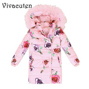 Wholesale teens girls clothes resale online - Girls Winter Fur Hooded Coat Children Jackets Teens Cotton Flower Print Parkas Kids Winter Outerwear Thicken Warm Clothes