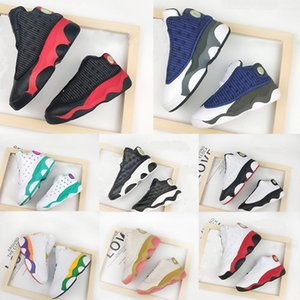 Wholesale elastic basketball shoes resale online - 13s New Born Baby Playground True Red Toddlers bred Flint Small Kids Newborn Basketball Shoes Infant big boy Girl Aurora Green Sneaker