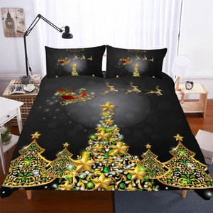 Wholesale christmas bedding resale online - BEST WENSD Digital printing Reindeer Bedding set Super King size duvet set Pillow cover Christmas tree bedsets home decoration