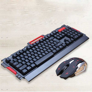 ratos impermeáveis venda por atacado-Waterproof Keyboard metal Painel e mouse sem fio Set Gaming Keyboard Mause Keyboard Game Mouse sem fio G placa de Key Mice