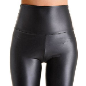 Women Black Stretch Faux Leather High Waist Pants Sheath Leggings Sexy Push Up Leggings Skinny Trousers Women