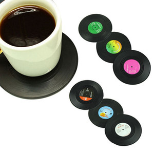 Wholesale table placemat sets resale online - 6pcs set Home Table Cup Mat Retro CD Record Coasters Creative Coffee Drink Tea Placemat Mug Pad HHA1564