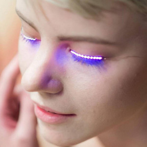 Wholesale flash eyelashes resale online - Flashes LED False Eyelashes Luminous Electronic Eyelid Waterproof Fake Eyelashes For Party For Costume Salon Pub beauty easy