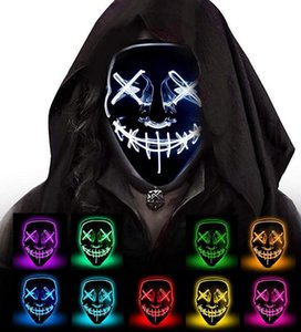 máscara facial do partido halloween venda por atacado-10style EL fio máscara de caveira Santo Rosto Máscaras flash Glowing Halloween Cosplay Led máscara máscaras partido do disfarce Careta máscaras de horror GGA3757