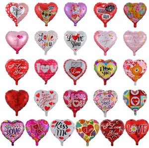 Wholesale ballons resale online - Valentine s Day Party Ballons I Love You Heart Balloons Aluminum Film Balloon Wedding Party Decoration Designs DW5767