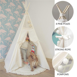 Wholesale cotton play tent for sale - Group buy Teepee Tent for Kids Foldable Children Play Tents for Girls and Boys Cotton Canvas Playhouse Toys Child Indoor Outdoor