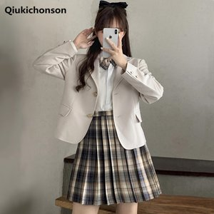 Wholesale teen dress styles for sale - Group buy Preppy Style JK Uniform Teen Girls Students Blazer and Pleated Plaid Skirt Set Suit Autumn Long Sleeve Two Piece Woman Dress