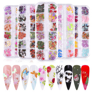 12 Grid Nail Art Design Wood Pulp Chips Nail Ornaments Xmas Halloween Mixed Decoration DIY Christmas Manicure Accessories