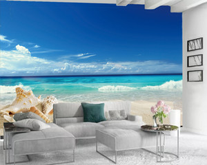 Wholesale 3d paper stars resale online - 3d Mural Wallpaper d Seascape Wallpaper Beautiful Beach Sea Star Shell d Wall Paper for Living Room Custom Photo