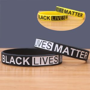 Wholesale decorative bracelets resale online - Fashion Black Yellow Silicone Bracelet Black Lives Matter Unisex Ring Bracelet Wristband For Party Supplies Decorative Sports FY9129