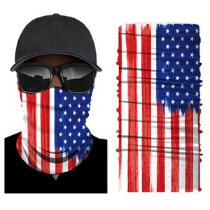 Wholesale halloween bibs for sale - Group buy Halloween Digital heat transfer ghost face skull American flag seamless cycling headscarf face mask Bib faceshield