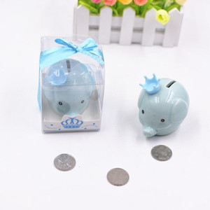 Wholesale baptism gifts resale online - Ceramic Pink Blue Elephant Bank Coin box for Baptism Favors Baby Shower Christening gifts LX2926
