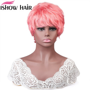 Wholesale girl straight hair color brown for sale - Group buy Ishow Brazilian Straight Wave Human Hair Wigs with Bangs Hot Pink Boy Girl Costume Wigs Peruvian Colored None Lace Wig Wet and Wavy