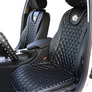 Wholesale car covers leather seats for sale - Group buy Leather Car Seat Cover Diamond Crown Rivets Auto Seat Cushion Interior Accessories Universal Size Front Seats Covers Car Styling