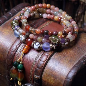 Wholesale alloy 5mm beads for sale - Group buy Fashion mm Natural Crystal Multi Color Beads Hand Beaded Bracelet Prayer Mala for Men or Women Meditation Dropship