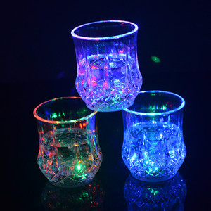 Wholesale light up shots resale online - Colorful Led Cup Flashing Shot Led Plastic Luminous Neon Cup Birthday Party Night Bar Wedding Beverage Light up Wine Beer