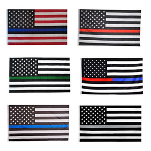 Wholesale line stars resale online - 90 cm American Flag Blue Black Line Stripe Police Flags Red Striped USA Flag With Star Banner Flags DHA894