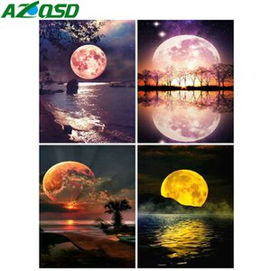 Wholesale set moon canvases resale online - AZQSD Painting By Numbers Acrylic Paint Moon Handpainted Wall Art DIY Oil Painting By Numbers On Canvas Set Scenery Home Decor