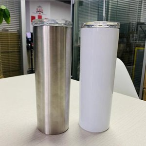 20OZ white blank sublimation skinny tumbler powder coated vacuum insulated straight mug DIY tall skinny cups with lid