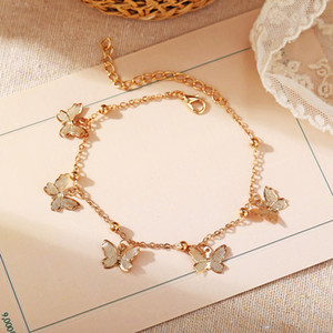 Wholesale anklet feet lovers resale online - Hot Foot Jewelry Temperament Hollow Butterfly Double Diamond Tassel Foot Chain Rose Gold Anklet Gold