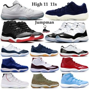 Popular High 11 11s Jumpman Basketball Shoes Men Women athletic Sneakers low legend blue white burgundy bred concord 45 gamma blue Trainers