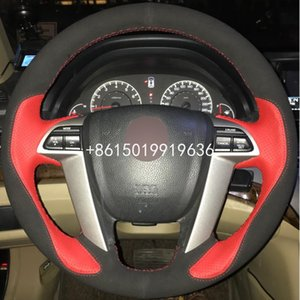 Wholesale honda accord leather for sale - Group buy Hand stitched Steering Wheel Cover Black Suede Red Leather for Honda Accord Odyssey Pilot