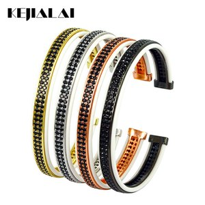 Wholesale best bracelets for men resale online - Fashion Jewelry Bangles Bracelets for Men White Leather with Double Lines Black Zircon Open Cuff Adjustable for Women Best Gift
