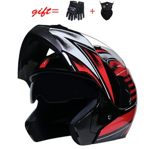 Wholesale built helmets resale online - WLT latest motorcycle helmet dual lens built in sun visor modular flip helmet DOT approved racing capacete Casco Moto